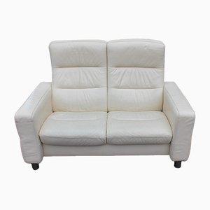 2-Sitzer Lehnsofa mit weißem Lederbezug, 1960er