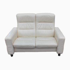 White Leather 2-Seater Reclining Sofa, 1960s