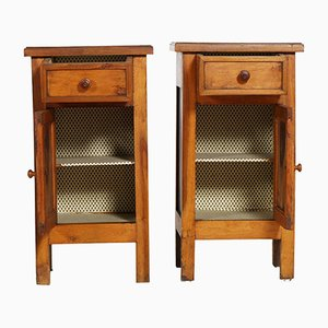 19th-Century Italian Walnut Nightstands, Set of 2
