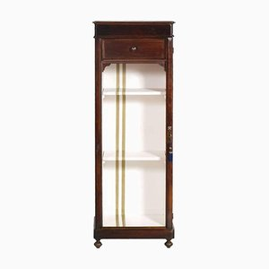 19th-Century Walnut Bookcase Cabinet