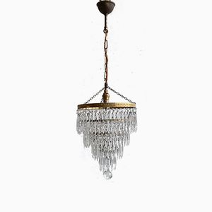 French Polished Brass Crystal Waterfall Chandelier, 1960s