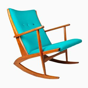 Mid-Century Danish Teak Rocking Chair by Holger Georg Jensen for Tønder Møbelværk, 1950s