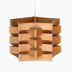 Swedish Pine Veneered Pendant Light, 1970s