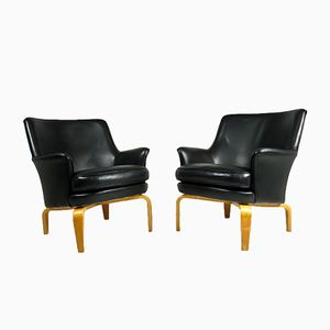 Mid-Century Swedish Black Leather Pilot Armchairs by Arne Norell, 1960s