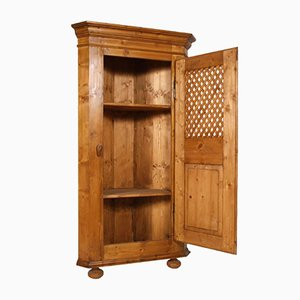 Antique Country Pine Corner Cupboard, 1890s