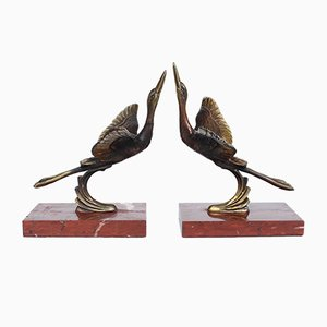 Art Deco Marabou Stork Bookends, Set of 2