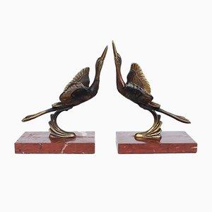 Sujetalibros Art Déco en forma de cigüeña marabú. Juego de 2
