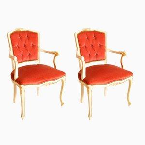 Venetian Baroque Style Pink Velvet Armchairs, 1930s, Set of 2
