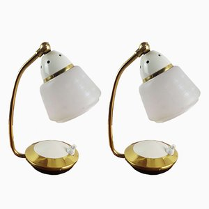 Vintage Glass Table Lamps, 1950s, Set of 2