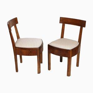 Art Deco Stühle aus Nussholz, 1920er