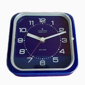 Blaue elektronische Vintage Ato Mat Uhr aus Keramik von Junghans, 1970er
