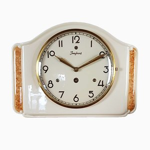 Cream Ceramic Wall Clock from Junghans, 1930s