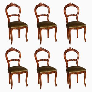 Antique Louis Philippe Hand-Carved Blond Walnut Chairs, Set of 6