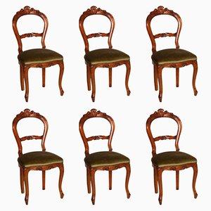 Sedie Luigi Filippo antiche in legno di noce intagliato a mano, set di 6