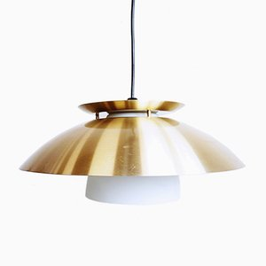 Frosted Glass and Golden Metal Pendant Lamp, 1960s