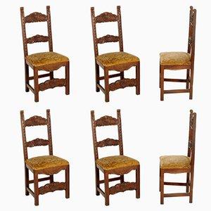 Sedie antiche in stile rinascimentale intagliate in legno di noce, set di 6