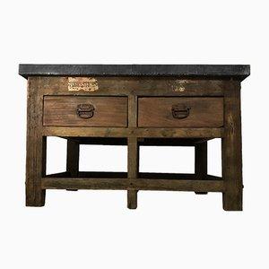 Mesa de imprenta industrial vintage de pino y zinc, años 40