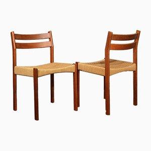 Dänische Mid-Century Esszimmerstühle mit Gestell aus Teak & Sitz aus Korbgeflecht, 2er Set