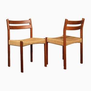 Mid-Century Danish Teak and Wicker Dining Chairs, Set of 2