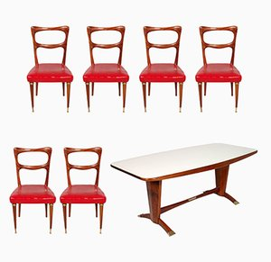 Tavolo da pranzo in mogano con sedie di Melchiorre Bega per Cantù, anni '50, set di 7
