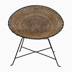 Vintage Scandinavian Rattan and Metal Lounge Chair