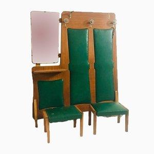 Mobiletto vintage in skai verde con specchio e due sgabelli, anni '50
