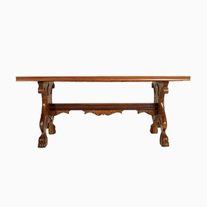 Antique Italian Hand-Carved Walnut Table