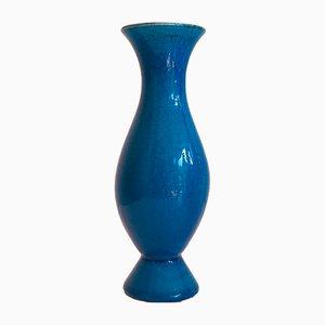 Blaue Keramikvase von Pol Chambost, 1960er