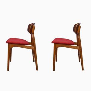 Dänische Esszimmerstühle aus Teak & Eiche, 1960er, 2er Set
