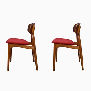 Danish Teak & Oak Dining Chairs, 1960s, Set of 2