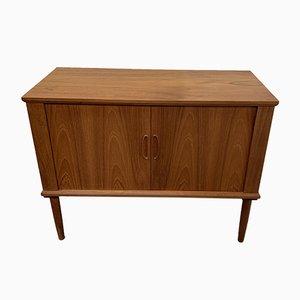 Danish Teak Tambour Record Cabinet, 1970s