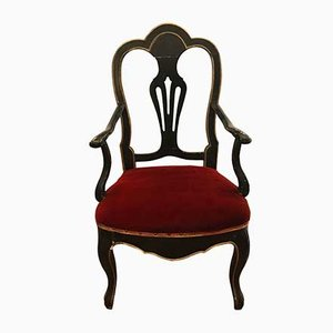Antique Red Velvet & Lacquered Armchair, 1800s