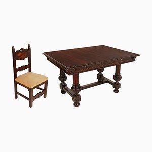 Tavolo in legno di noce e sei sedie, XIX secolo
