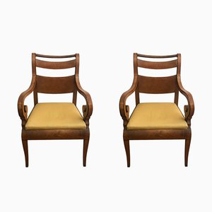 Antique Maple Wood Armchairs, Set of 2
