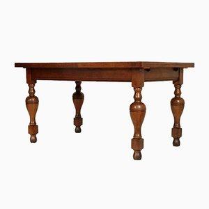 Tavolo neoclassico antico in legno di quercia massiccio