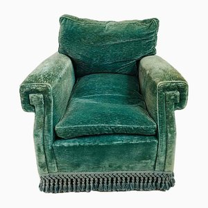 Club chair in velluto verde, anni '60