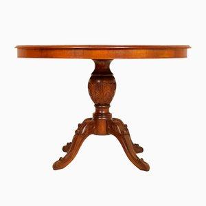 Table Ronde Vintage en Noyer Sculpté à la Main