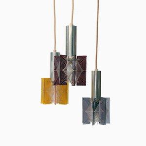 Mehrfarbige Hängelampe mit 3 Leuchtstellen von Paul Secon für Sompex, 1960er