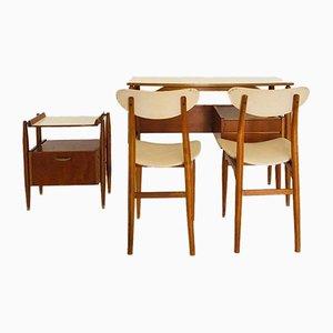 Schwedischer Schreibtisch, Beistelltisch und Stühle, 1970er