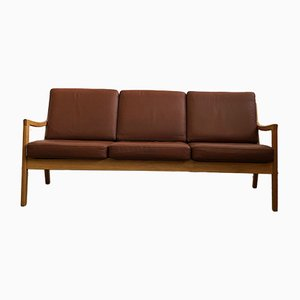 Mid-Century Danish Oak & Leather Senator Sofa by Ole Wanscher for Poul Jeppesens Møbelfabrik
