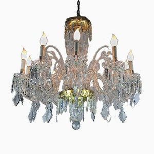 Vintage Bohemian 12-Arms Crystal Chandelier, 1950s