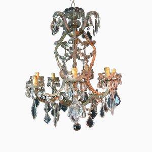 Antiker Maria Teresa Kronleuchter aus Kristallglas mit 9 Leuchten