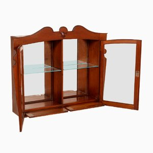 Art Nouveau Austrian Walnut Wall Display Cabinet, 1920s