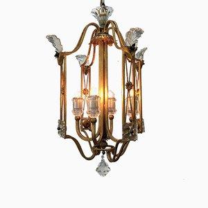 Lanterne Style Antique en Fer Doré et Cristal de Banci, 1980s