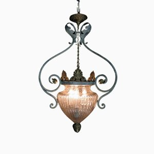 Antique Wrought Iron & Blown Glass Pendant