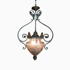 Lampada a sospensione antica in ferro battuto e vetro soffiato