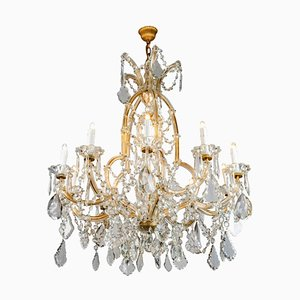 Antique Bohemian Crystal Chandelier