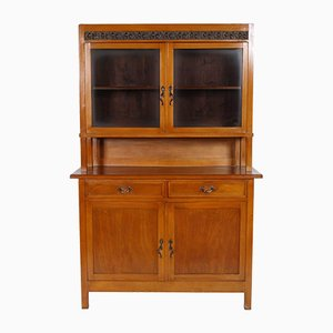 Art Nouveau Cherry Credenza with Display Cabinet
