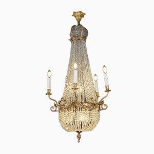 Lustre Empire Antique en Cristal et Bronze Doré