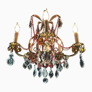 Antique Style Chandelier with Red Crystals, 1950s